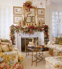 DecorationsEndearing Floral Sofa Upholstery And Rustic Coffee Table Also White Fireplace Feat Christmas Party