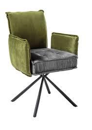 details zu stuhl joelle esszimmerstuhl armlehe samt stoff grau grün gepolstert
