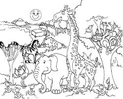 Elephant Giraffe Coloring Page