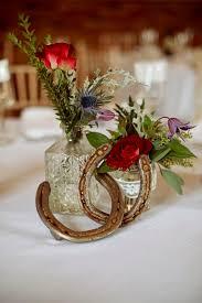 Rustic Red Barn Horseshoe Winter Wedding Centerpiece
