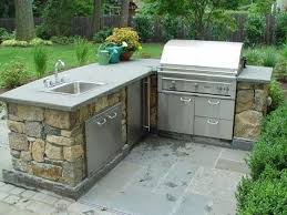 Gallery Of L Shaped Outdoor Kitchen Also Kits Nickel Images Grill Grey Brick Glass Front Upper Cabinet Green Rustic Wood Chairs