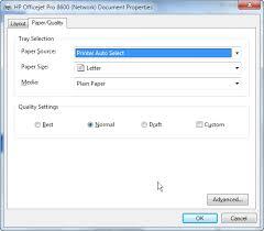 HP 8600 Print Driver Paper Quality