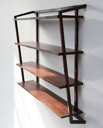 Rustic Style Interior Design With Wall Mounted Wooden Shelving Units And 4 Tier Solid Wood Shelves Decor