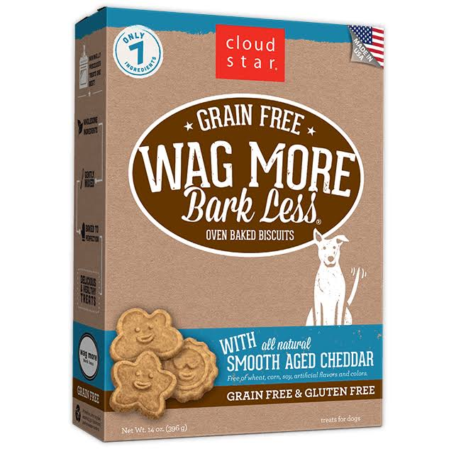 Cloud Star Wag More Bark Less Grain Free Dog Biscuits - Smooth Aged Cheddar