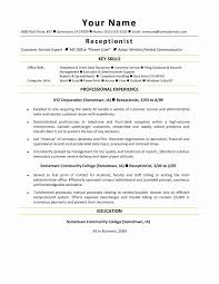 Receptionist Job Description Resume Fresh Sample Of