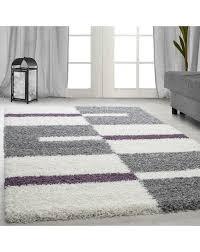 hochflor langflor wohnzimmer shaggy teppich florhöhe 3cm grau weiss lila größe 60x110 cm