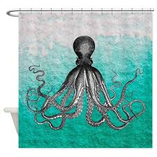 Ombre vintage nautical octopus wate Shower Curtain by listing