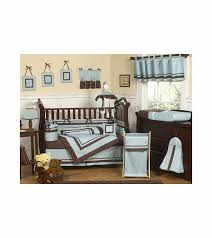 sweet jojo designs hotel blue brown 9 piece crib bedding set