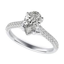 Trellis Diamond Engagement Ring With Pear Center Stone By