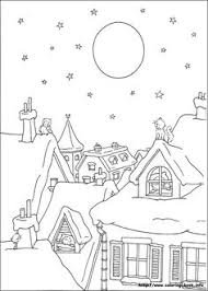 Christmas Coloring Picture Winter Scene Showing 2 Cats And An Owl Up