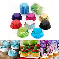 100Pcs Foil Metallic Paper Cupcake Cases Liners Muffin Baking Cake Cup US Stocks