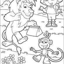 Dora The Explorer And Boots Monkey Lion Coloring Page