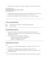 Resume Format For English Lecturer Pdf Sample With Objectives