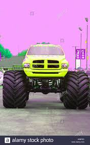 Digital Painting Big Monster Truck In Yellow And Pink Stock Photo ...