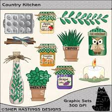 Country Kitchen Clipart And Graphic Set Cooking