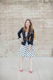 a navy polka dot dress for paris
