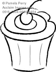 Clip Art Image of a Line Drawing of a Cupcake