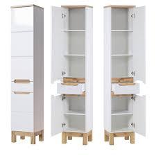 badezimmer hochschrank solna 56 hochglanz weiß mit wotaneiche b x h x