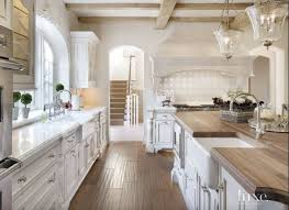 Stunning Rustic White Kitchen Ideas With Chandelier And Countertop