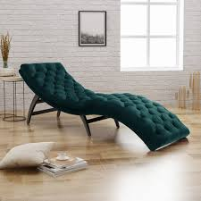 Details About Modern Chaise Lounge Chair Sofa Daybed Curved Lounger Bedroom  Teal Velvet Tufted