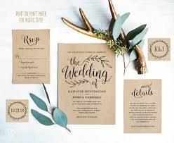 Vintage Wedding Invitation Suite Printable Template Rustic Cards DIY Editable Text VW01