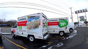 UHaul Company Parking Lot Rental Moving Vans Stock Video Footage ...