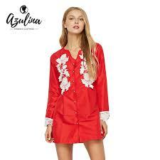 AZULINA 2017 Casual Spring Summer Red Shirt Dress Women Long Sleeve Lace Spliced Mini Female