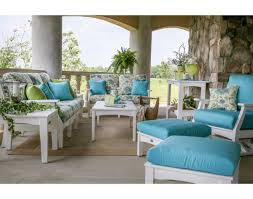 Patio Furniture Cushions Sunbrella by Decorating Wooden Chair With Square Sunbrella Cushions In Blue