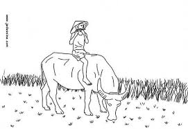 Flutist On A Cow In Vietnam Coloring Page