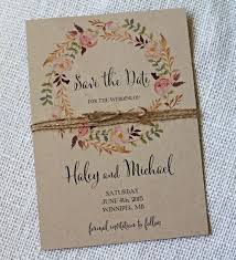 Bohemian Save The Date Watercolor Floral Style Watercolour Rustic Vintage Kraft