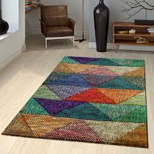 kurzflor teppich moderne dreieck muster bunt