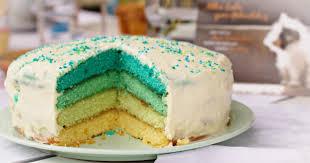 ombre cake in türkis mit mascarpone topfen creme