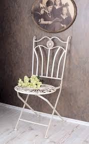 gartenmöbel gartenstuhl shabby chic stuhl weiss metallstuhl