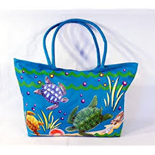 Amazon Waterproof Jumbo Blue Canvas Beach Tote Bag Sea Turtle