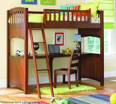 bedroom brown traditinal varnished solid wood kids bunk bed