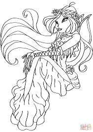 Click The Winx Club Mermaid Flora Coloring Pages To View Printable Version Or Color It Online Compatible With IPad And Android Tablets