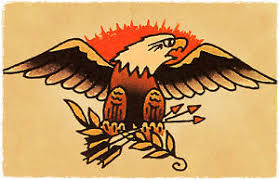Image Is Loading American Bald Eagle Vintage Sailor Jerry Inspired Traditional