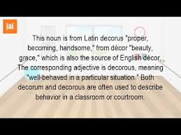 what is meant by decorum youtube
