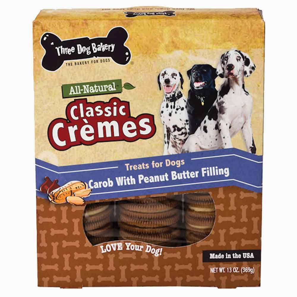 Three Dog Bakery Classic Cremes Baked Dog Treats - Carob with Peanut Butter Filling, 13oz