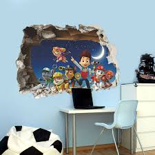3D Cartoon Paw Patrol Snow Slide Wall Stickers Home Decor Kids Room Decoration PVC Diy Art Game Poster