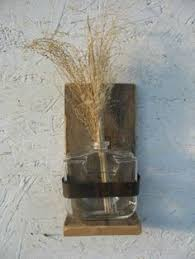 Rustic Wood Flower Vase Glass Avon Bottle Rusty Metal Primitive Wall Hanging