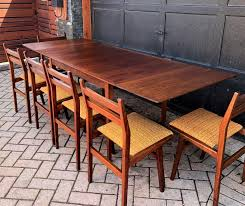 REFINISHED Custom MCM Walnut Table W 2 Leaves & 6 Chairs, All PERFECT,  Narrow & Compact- Great For Downtown Ding Table Ideas Articulate Rectangular Glass Dectable Extending Round South And Best Small Kitchen Tables Chairs For Spaces Folding Ding Table And Chairs Folding Rovicon Purbeck Appealing Modern Wooden Mills Wood Designs De Cushions Room Lighting Chair 4 Perfect Small Spaces In W11 Chelsea Very Fniture Space Free Shipping 6 Seater Mable Ding Table Set Meja Makan Batu Marfree Chair Ausgezeichnet Long Narrow Legs
