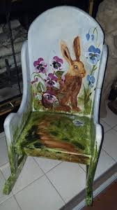 Vintage Hand Painted Spring Bunny Rabbit Childrens Wood Rocking Chair Childs