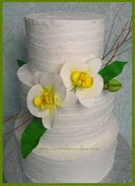 Rustic Orchid Wedding Cake