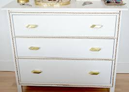 Ikea Hemnes Dresser 3 Drawer White by Gold Nailhead Ikea Dresser Makeover Before After