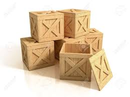 Wooden Crates Isolated Stock Photo