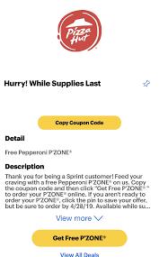 Sprint Rewards][YMMV] Free Pepperoni P'Zone From Pizza Hut ...