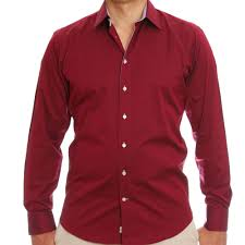 men u0027s wine colour fitted shirt with a pink inner lining
