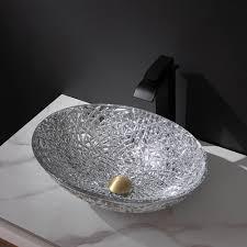 glas waschbecken modern oval für badezimmer
