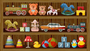 Wooden Show Window Of Shop With Vintage Toys Vector Illustration